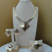 Yuminglai Italian Designer Jewelry Dubai 24K Gold Jewlery Exquisite Jewelry Sets  FHK8521