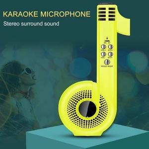 Presentes criativos profissionais do miúdo forma de nota musical portátil portátil sem fio bluetooth alto-falante microfone karaoke máquina