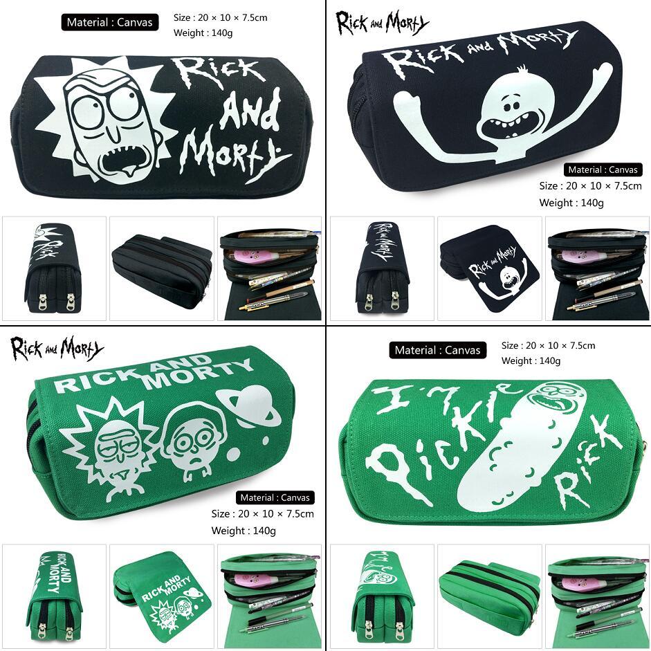Rick And Morty Pickle Rick Portable Travel Zipper Cosmetic Bag Canvas Pencil Case Student Pen Bag Cartoon Makeup Bag Stationery