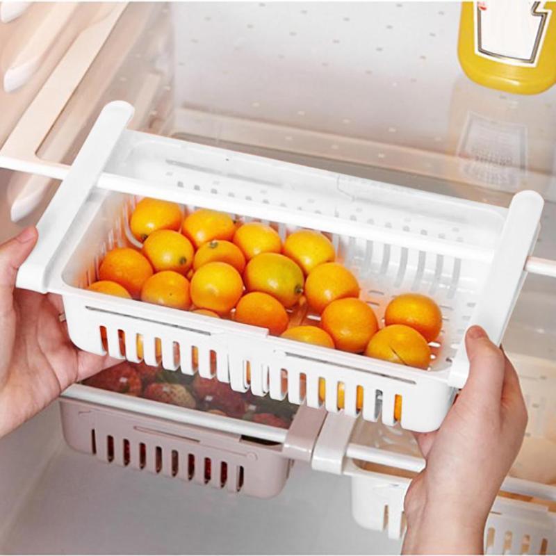Adjustable Refrigerator Storage Rack Fridge Drawer Shelf Kitchen Organizer Fridge Freezer Shelf Holder Pull-out Drawer