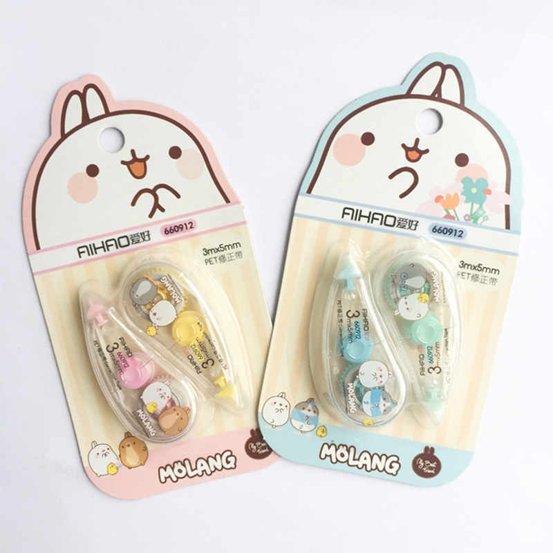 2 Pcs/pack 5mm*3m  Happiness Molang Press Type Practical Correction Tape Diary Stationery School Supply