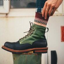 Botas Vintage de cuero para hombre, botas cortas de cuero para otoño e invierno, zapatos de color a juego para hombre