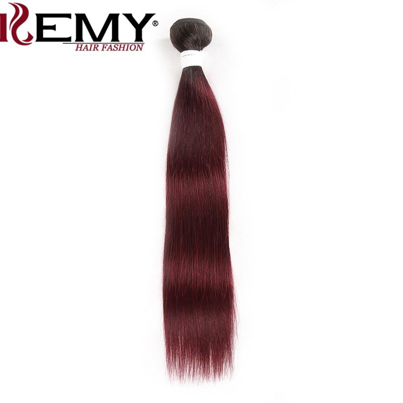 Brazilian Straight Human Hair Weave Bundles Dark Roots T1B/99J Ombre Red Hair Bundles Non Remy Hair Weave 1 Piece