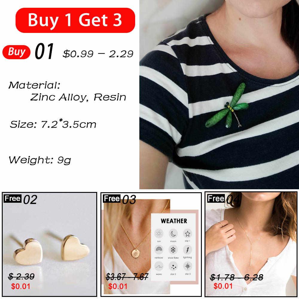 JUJIE moda Dragonfly broş kadınlar için 2020 Dragonfly broş Pin erkekler için kristal reçine böcek takı toptan/Dropshipping