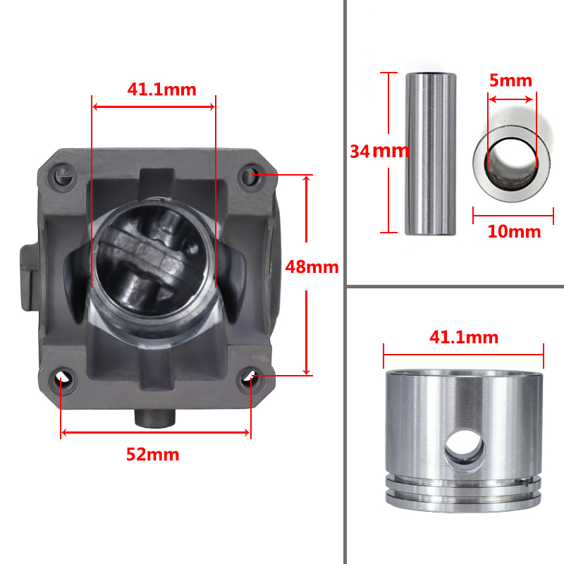 Tools : CMCP Diameter 41 1mm Chainsaw Cylinder And Piston Set Fit For Partner350 Partner351 Garden Gas Chainsaw Engine