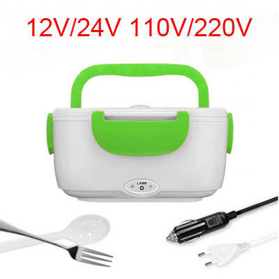 Portable Electric 12V/24V 110V/220V Heated Stainless Lunch Box Bento Boxes Car Food Rice Container Warmer For School Office Home