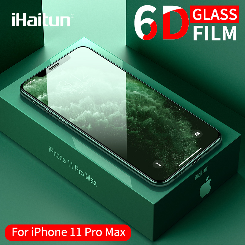 IHaitun Luxury 6D Glass For IPhone 11 Pro XS MAX XR X Tempered Glass Curved Screen Protector For IPhone X 10 7 8 Plus Cover Film