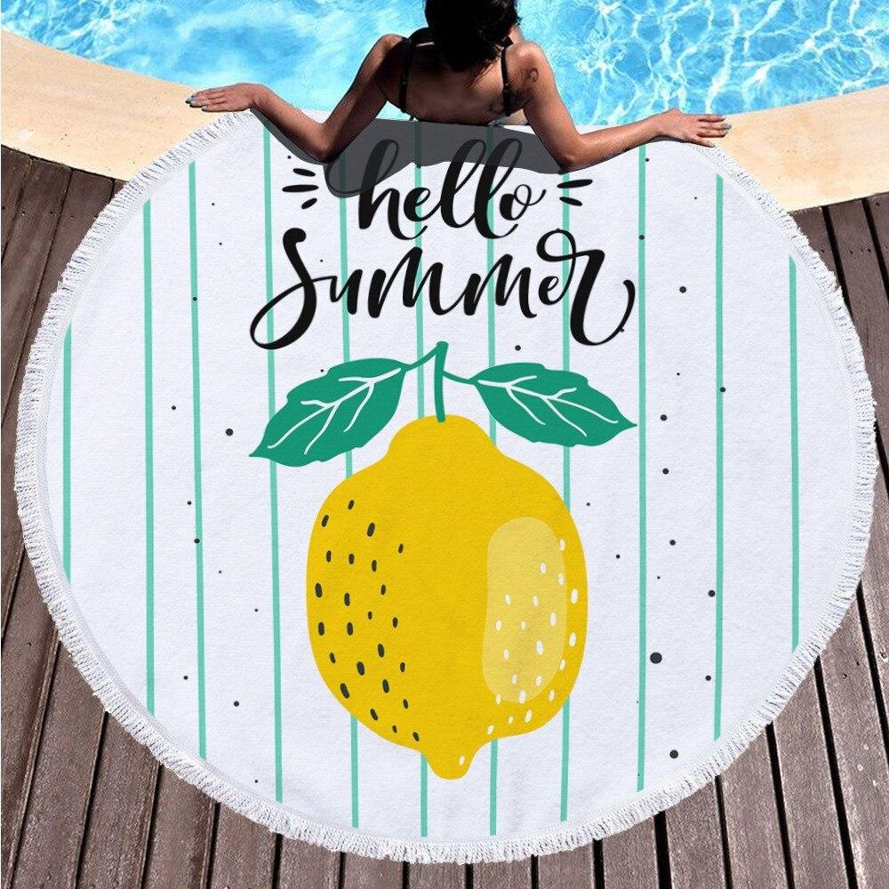 HOT 150*150cm Summer Cute Style Towel Beach Fruit Sea Mat Women Circle Round Towels