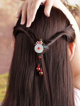 Vintage Moon Hairpin Hair Accessories Jewelry Chinese Ethnic  Hair Clip Headwear Handmade Barrettes Natural Jade Ornaments