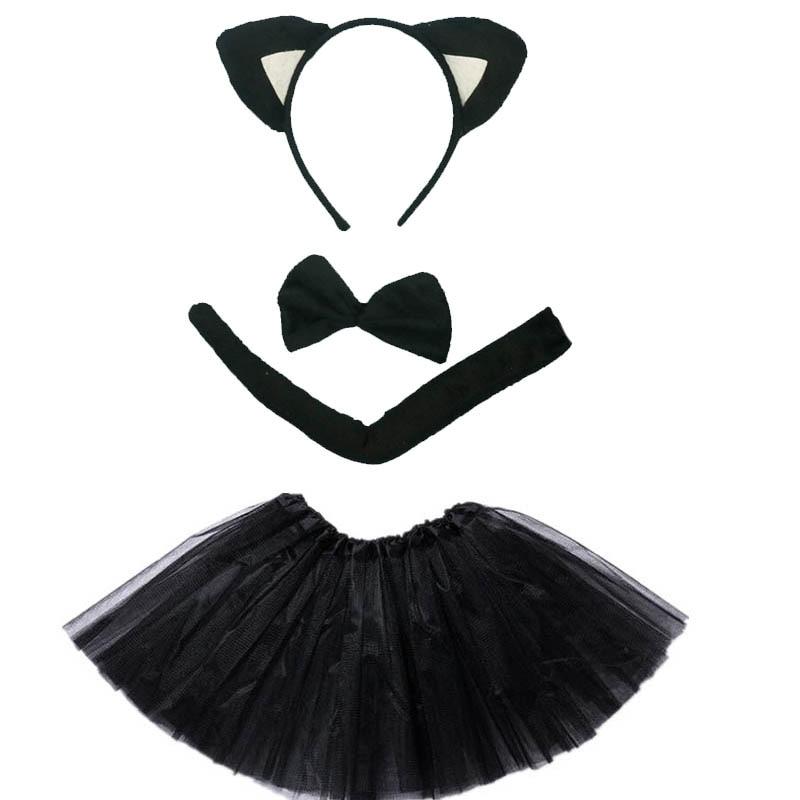 Kids Children Girl Ears Fox Cat Cosplay Animals Costume Headband Tutu Skirt Set Birthday Party Gift Dress Up Props Halloween