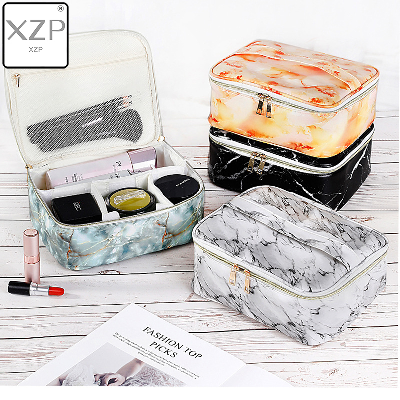 XZP Marble Pattern Cosmetic Bags Women's Makeup Case Lipstick Toiletry Pouch Tote Suitcase Beauty Brush Large Capacity Pouch Supplies Accessories Women Cosmetic Makeup Cosmetic Bags