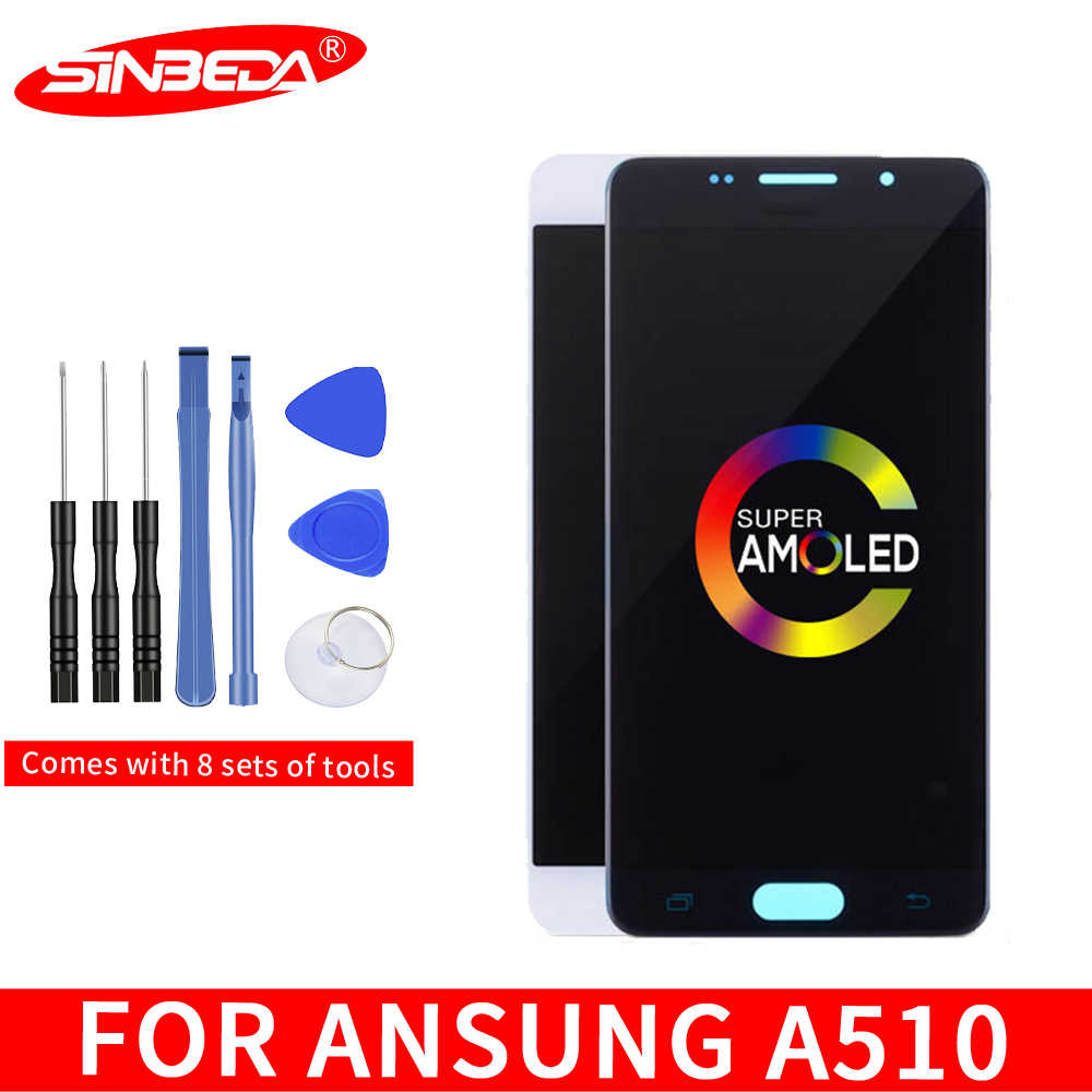 "5.2 ""Super AMOLED LCD สำหรับ SAMSUNG Galaxy A5 2016 A510 A510F LCD Touch Digitizer สำหรับ SAMSUNG A510 LCD *"