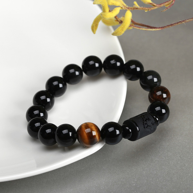 JD nouveau cristal 12mm Agate noire perle Dragon brin Bracelet pour hommes femmes Couples amoureux Totem bouddha chanceux amulette bijoux