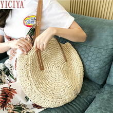 Shoulder Straw Bag Womens Fashion Bags Center Round Rattan Hand-woven Bohemian Large Size Beach Casual For Women 2019