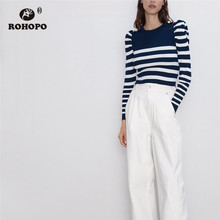 ROHOPO Puff Sleeve Cross Wide Striped Autumn Knitted Sweater Round Collar Bottons Shoulder Band White Blue Tops #9555