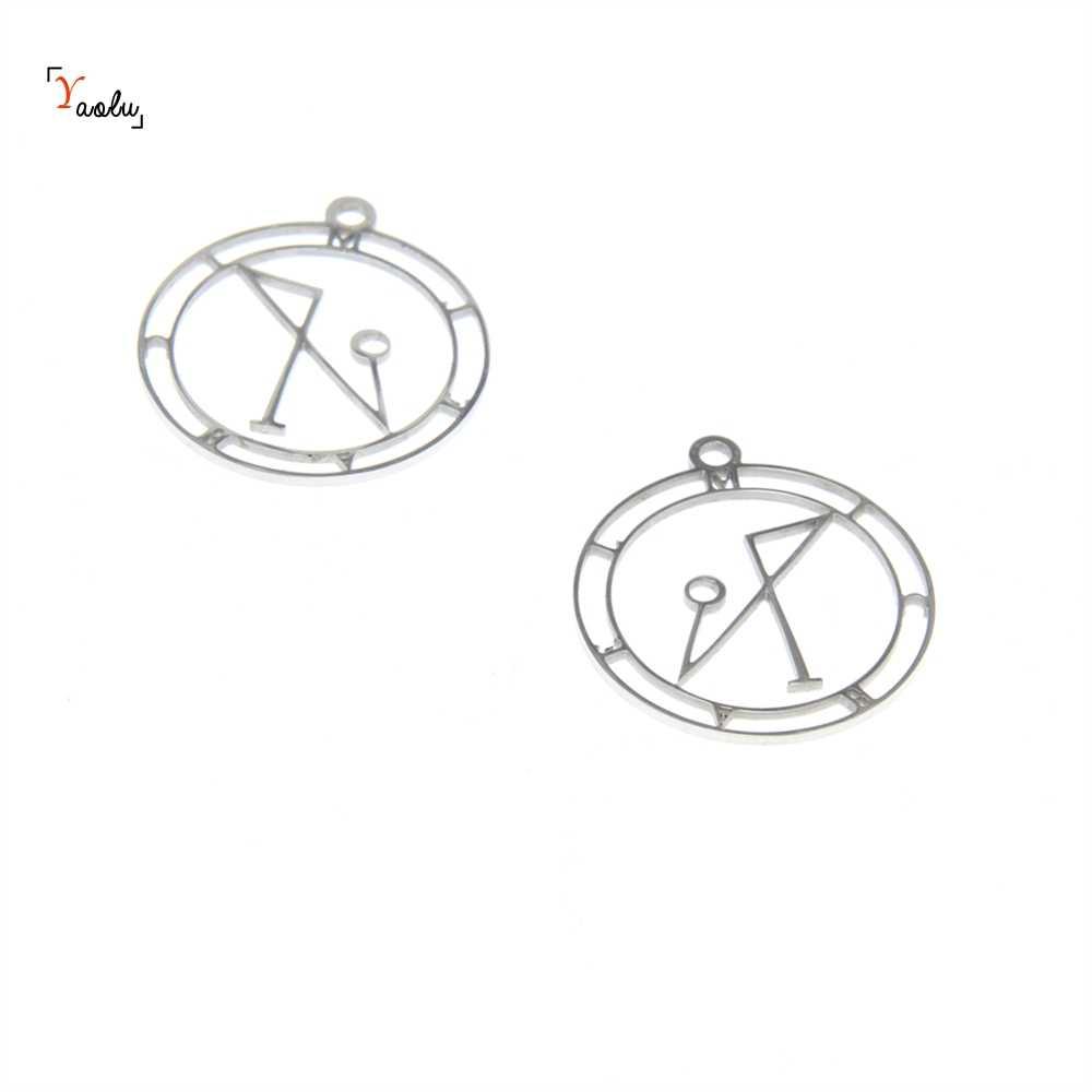 5 sztuk/partia archanioł Michael sigil Symbol urok Sigil archanioła MichaelLogo godło Amulet wisiorek ze stali nierdzewnej 25mm