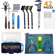 42 Pieces 3D Print Tool Kit Includes Debur Tool Cleaning Removal Tool with Storage Bag 3D Printer Tool Set for Cleaning