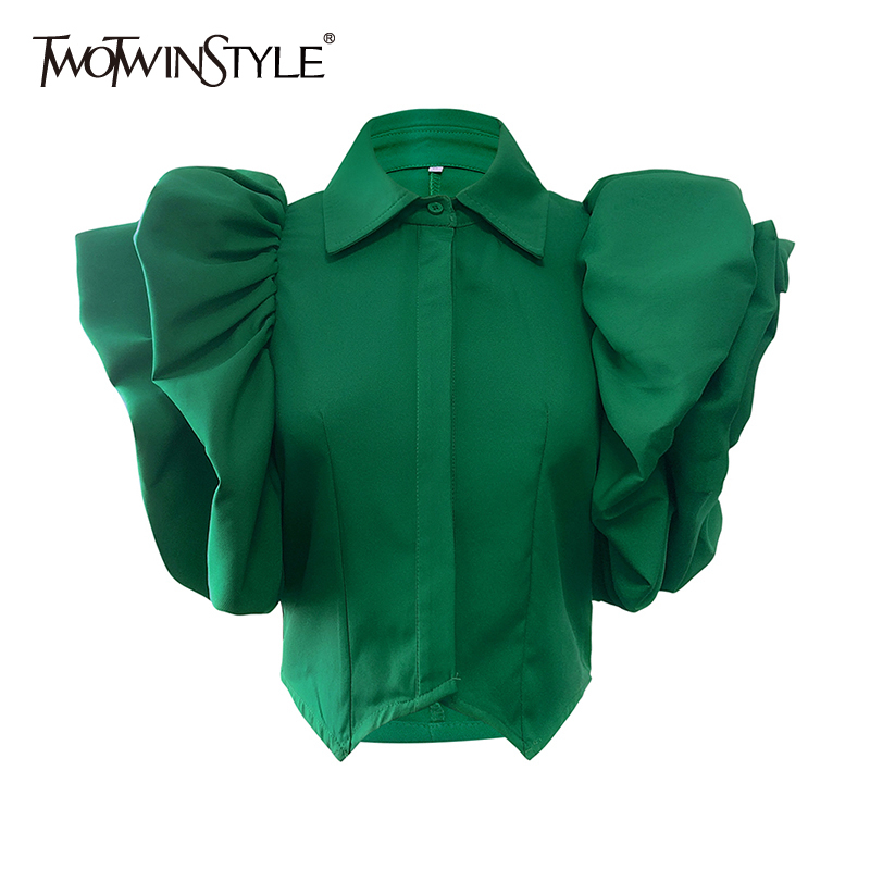 TWOTWINSTYLE Vintage Ruffles Women Blouse Lapel Collar Butterfly Short Sleeve Loose Shirt Female Fashion Clothes 2020 Spring New