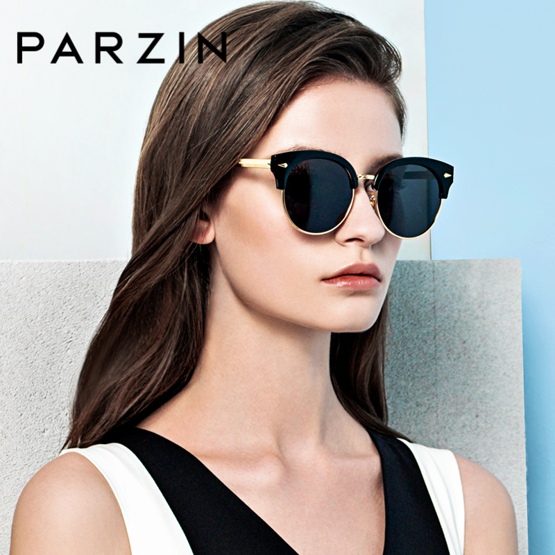 PARZIN Brand Retro Round Polarized Sunglasses For Women Quality Lens Sun Glasses Classic With Original Box Accessories 9883
