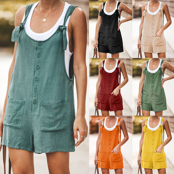 Women Rompers Summer Casual Loose Sleeveless Jumpsuit Solid Button Pocket Suspenders Bib Short Pants Wide Leg Playsuits Overalls summer strapless floral rompers women bow tie sleeveless print jumpsuit casual wide leg loose playsuit overalls
