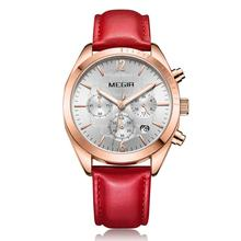 MEGIR 2019 Women watch Fashion wild multi-function chronograph calendar leather strip Female 2115