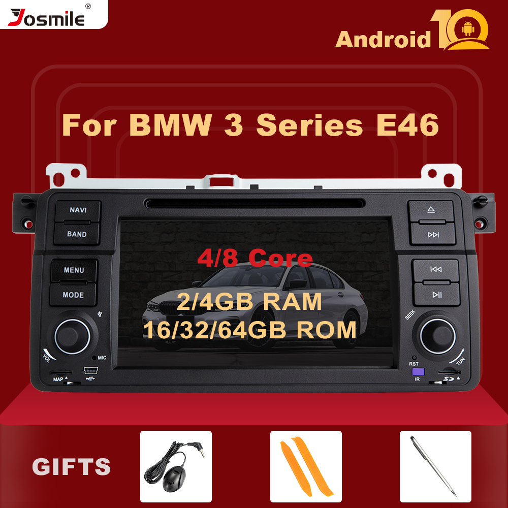 Josmile AutoRadio 1 Din Android 10 Car DVD Player For BMW E46 M3 Rover 75 Coupe 318/320/325/330/335 GPS Navigation 1998-2006 4G image
