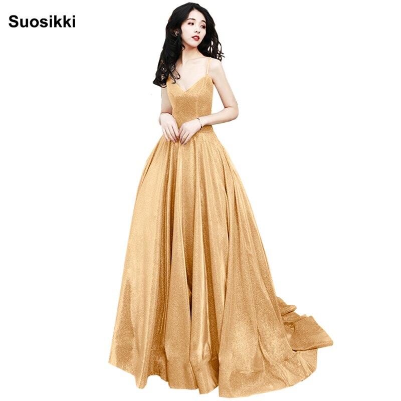 2019 vestidos de baile Stock or a-ligne robes de bal vestido de noite col en v élégant pas cher longue appliques robe de bal
