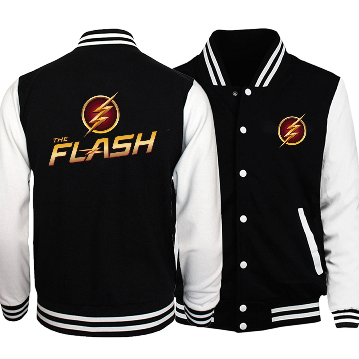 Il Flash uniforme Da Baseball Supereroe Barry Allen Uomini Giacca Giubbotti STELLA Del Cappotto 2019 di Autunno In Pile Supereroe Sportswear Streetwear