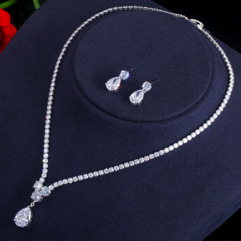 CWWZircons Fashion Cubic Zirconia Water Drop Pendant Necklace and Earrings Bridal Wedding Jewelry Sets for Brides Party T397 5