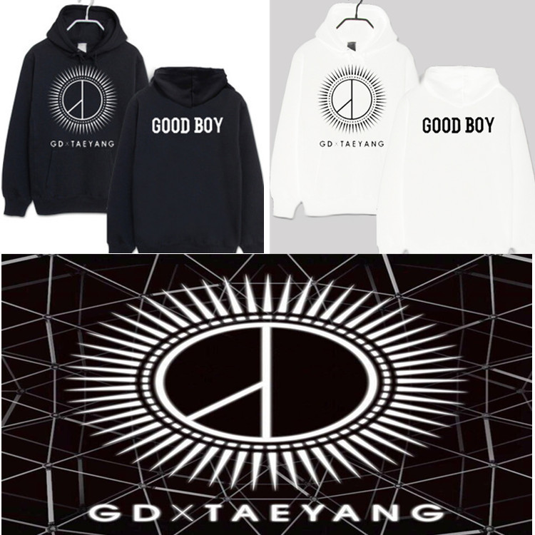 Black And White 2 Color Selectable Thick Bigbang G DRAGON GD Hoodie Good BOY Celebrity Style Hooded Fleece Hoodie
