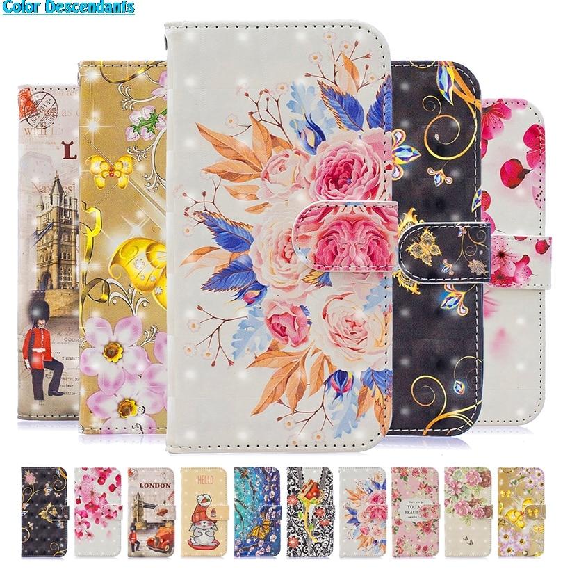 3D Painted Flip Book Case Shell For Huawei Mate 20 P8 P10 P20 Lite 2017 P Smart Plus Honor 8 9 10 Nova 3I Rabbit Flower Cover