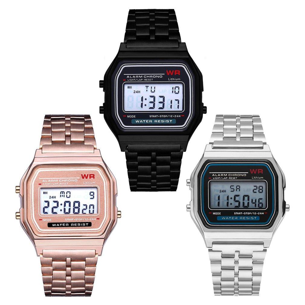Ultra Thin Men Women's LED Digital Watch Stainless Steel Strap Alarm Wrist Watch Dress Business Wrist Watch