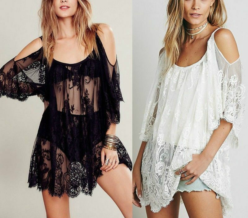 Women Summer Lace Floral Swimwear Bikini Crochet Cover Up Beach Dress Shirt Tops Fashion Sexy Loose Hollow Sunscreen Cover-up