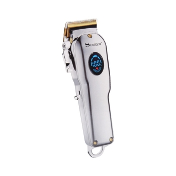 SURKER SK-807B Electric Clipper Oil Head Hair Clipper In-Line High Power Mute Hair Clipper Men 'S Hair Cutting Kit(Silver)