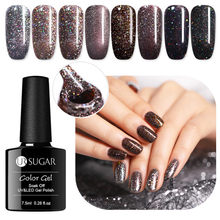 UR Gula 7.5 Ml Holographic Kerlap-kerlip Kuku Gel Polandia Warna Coklat Tua Payet Panjang Lastingsoak Off UV LED Gel Nail art Lacquer(China)