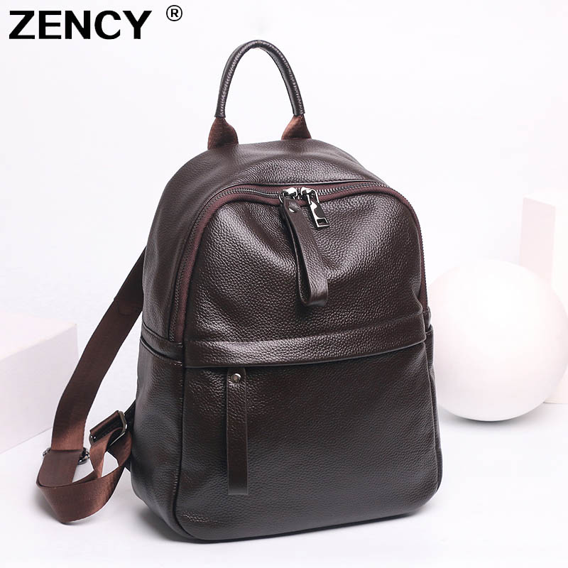 ZENCY NEW Genuine Cow Leather Women's Backpacks Black Color Hardware First Layer Cow Leather Female School Backpack Cowhide Bags