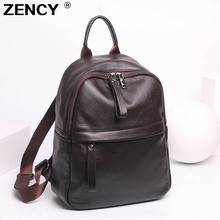 ZENCY NEW Genuine Cow Leather Women's Backpacks Black Color