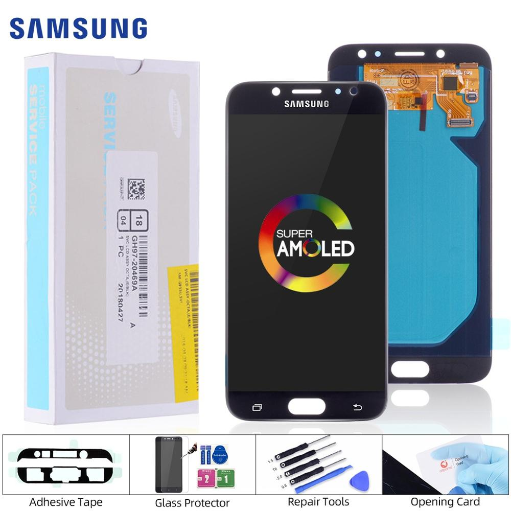 AMOLED OLED LCD Para SAMSUNG Galaxy J7 Pro J730 J730F Display Tela Touch Frontal Completo Módulo Visor Original 5.5 Pol Preta Dourado
