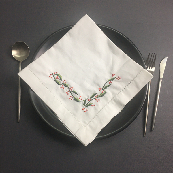 Set Of 12 Fashion Dinner Napkins White Hemstitched Linen Table Napkin With Color Embroidered Floral Wedding Napkins 22x22-inch