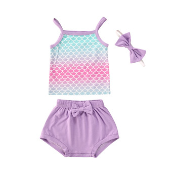 Baby Girl Clothes Summer Newborn Infant Mermaid Vest Tank Top Shorts With Bow Headband Outfit Set 0-24M