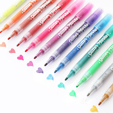 12 nice Glitter color marker pen 1mm Water based UV resistant Pigment ink pens for Lettering Drawing Painting Album Art A6848