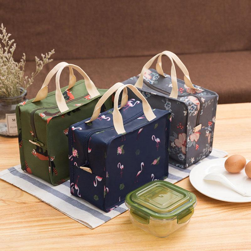 Portable Food Cooler Bag For Children Aluminum Foil Thermal Box Kids Zipper Ice Pack Cute Animal Prints Lunch Box Bolsa Termica