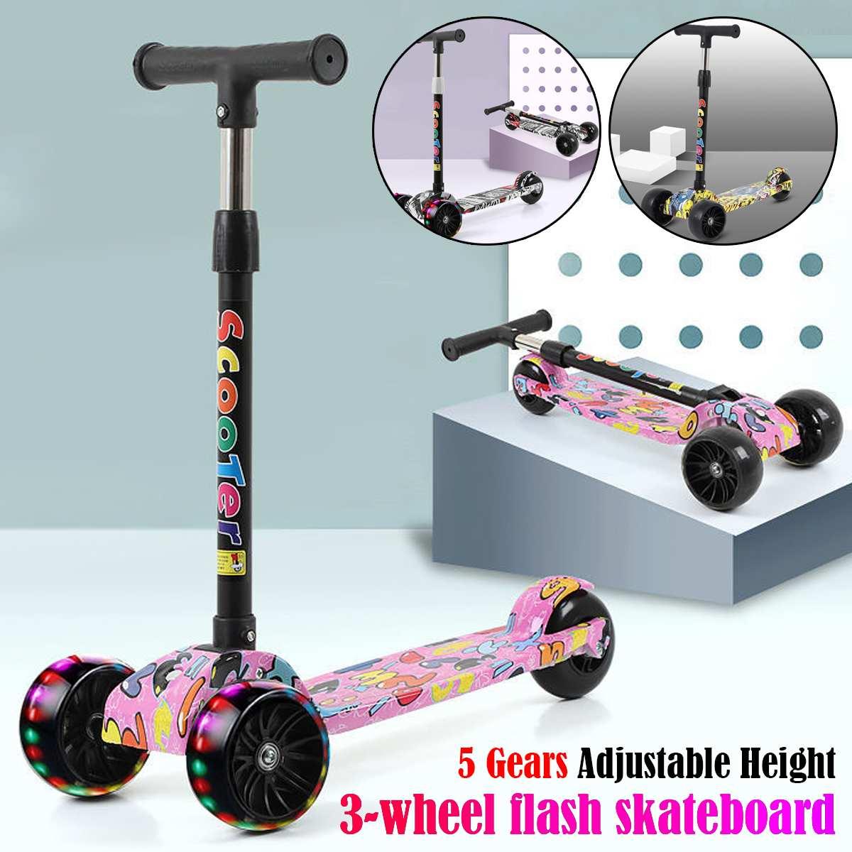 Kick Scooter Skateboard City-Roller Kids Boys Children Pu-Wheel 3 Toys Exercise ABS Fun