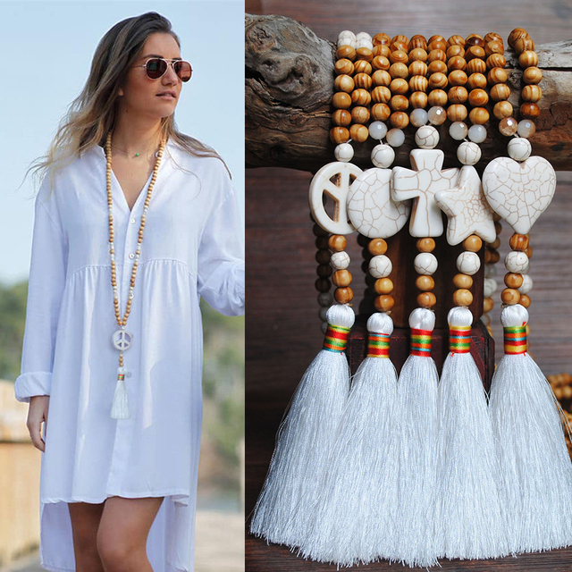 Yumfeel New Bohemian Necklace Handmade Stones Tassels Wood Beads Necklace Long Women Jewelry Gifts 2