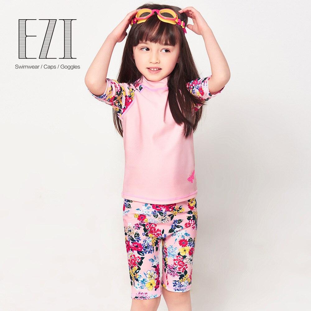 CHILDREN'S Swimwear GIRL'S Baby Cute Girls Half-sleeve Shirt Split Type Sun-resistant Surfing Suit Infant 12004