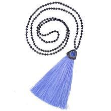 C.QUANCHI Crystal Beads Long Necklaces for Woman Inlay Quartz Pendant Necklaces Tassel Fringe Necklace Y Strands Necklace Collar n091808 18 29 7 strands pearl necklace quartz druzy pendant