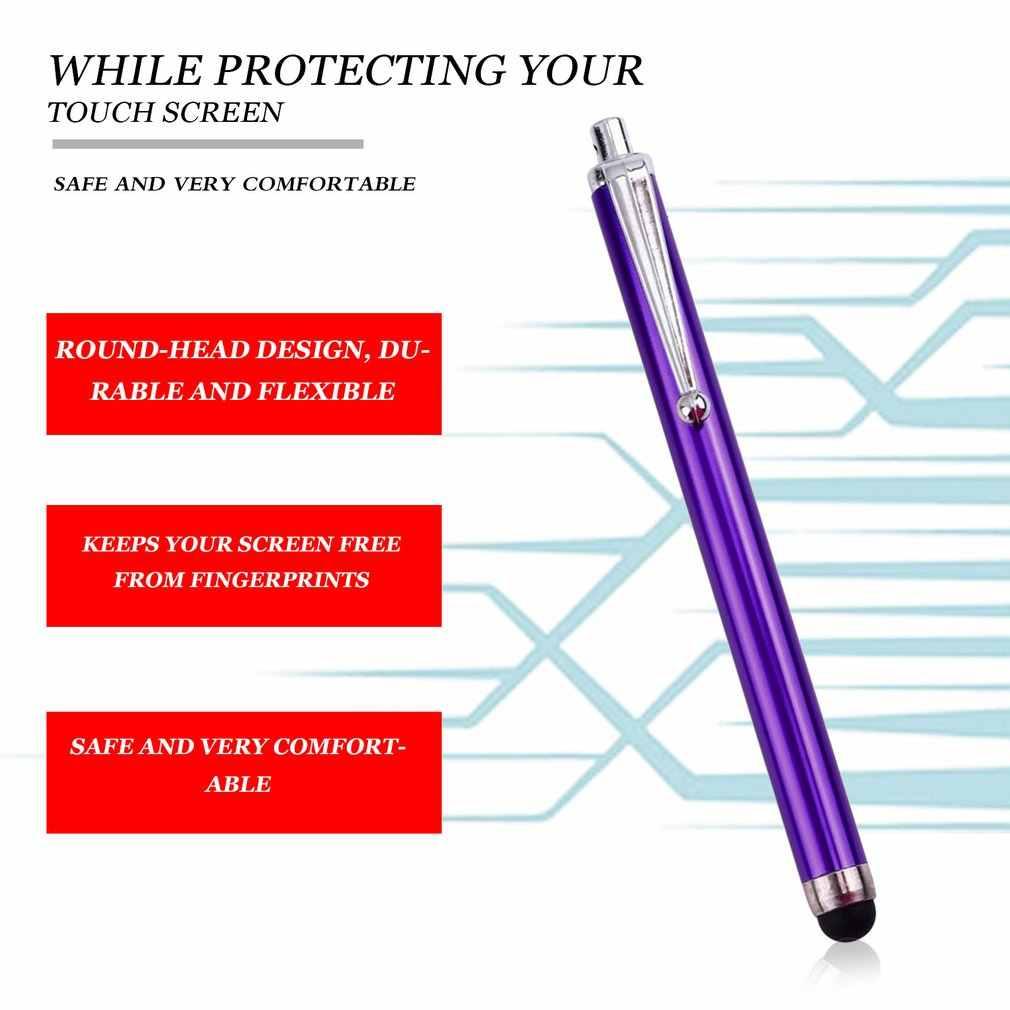1 قطعة مستديرة الرأس تصميم معدن قلم اللمس عدسات زجاجية للشاشة قطع غيار محول رقمي القلم ل فون باد اللوحي