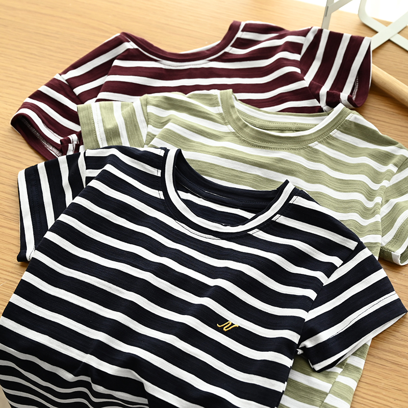 New Summer Bamboo Cotton Children T Shirt Short Sleeve Striped Boys T Shirt Casual Girls Tops BC930