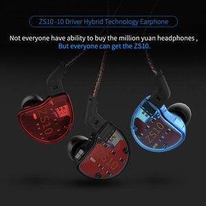 Image 4 - KZ ZS10 4BA+1DD Hybrid In Ear Earphone HiFi  Earphone Earplug Headset Earbud Noise Cancelling DJ Professional Earphone AS10 ZST