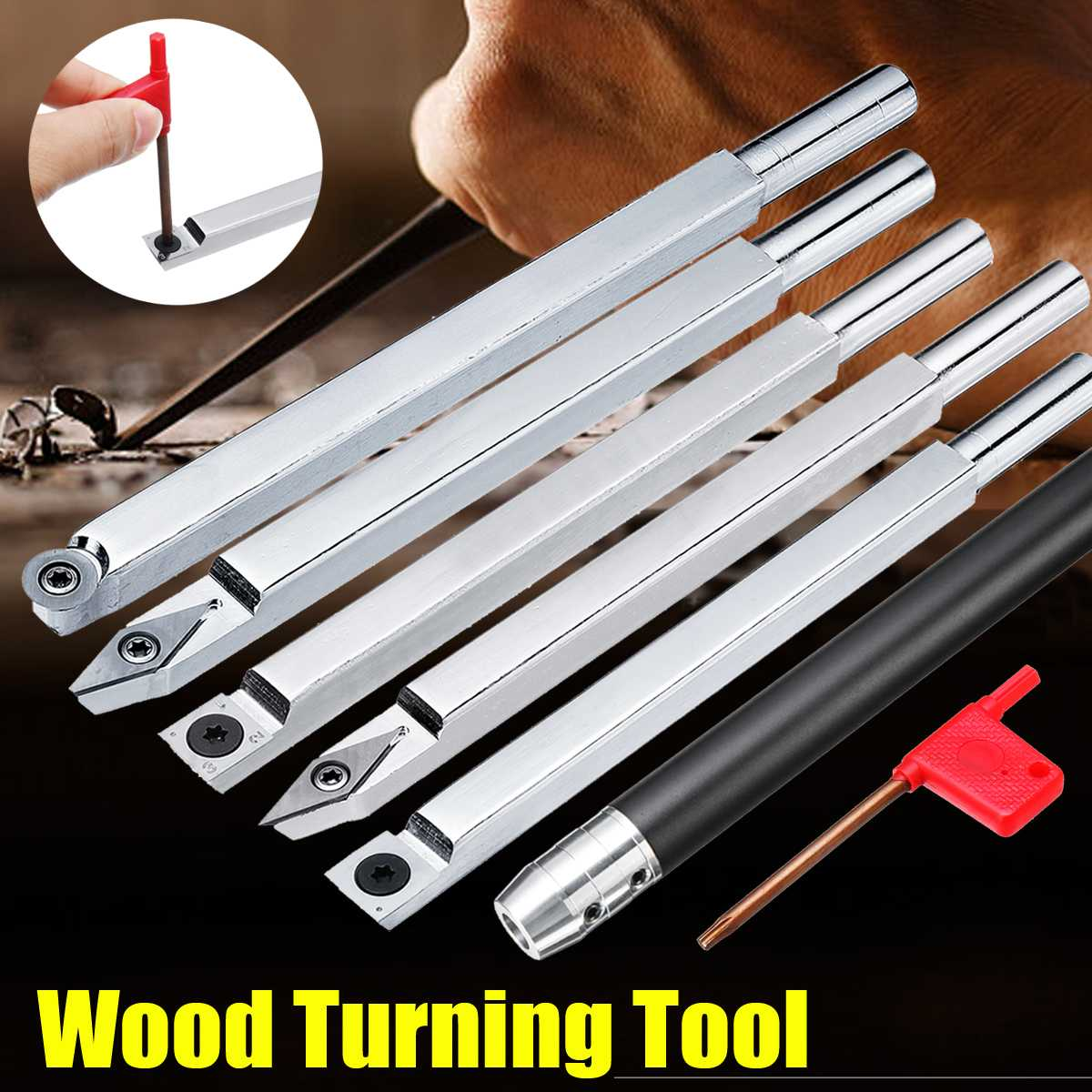 Wood Turning Tool Chisel Changeable Tungsten Carbide Tip Lathe Tool Insert Cutter Can Match Alloy Steel Woodworking Tool